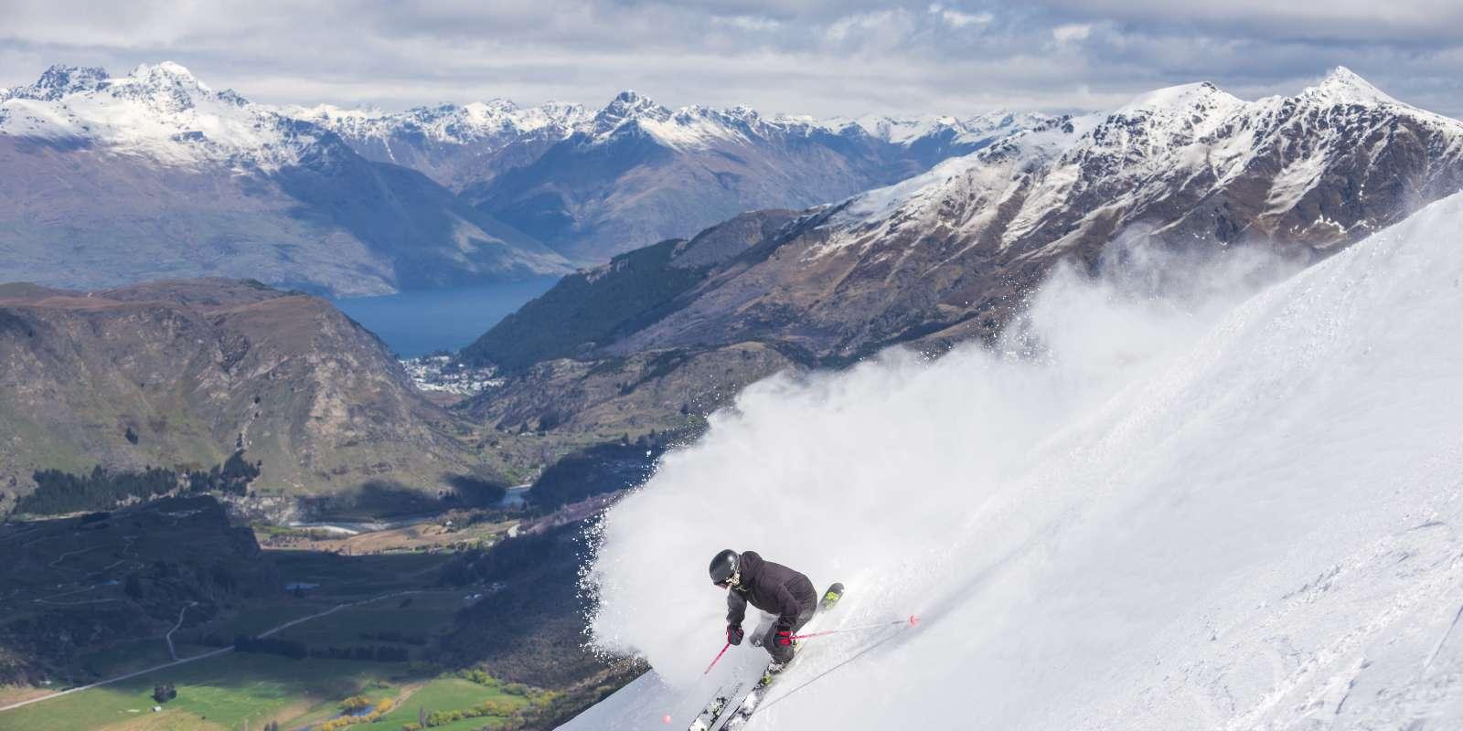 Skiing at Coronet Peak