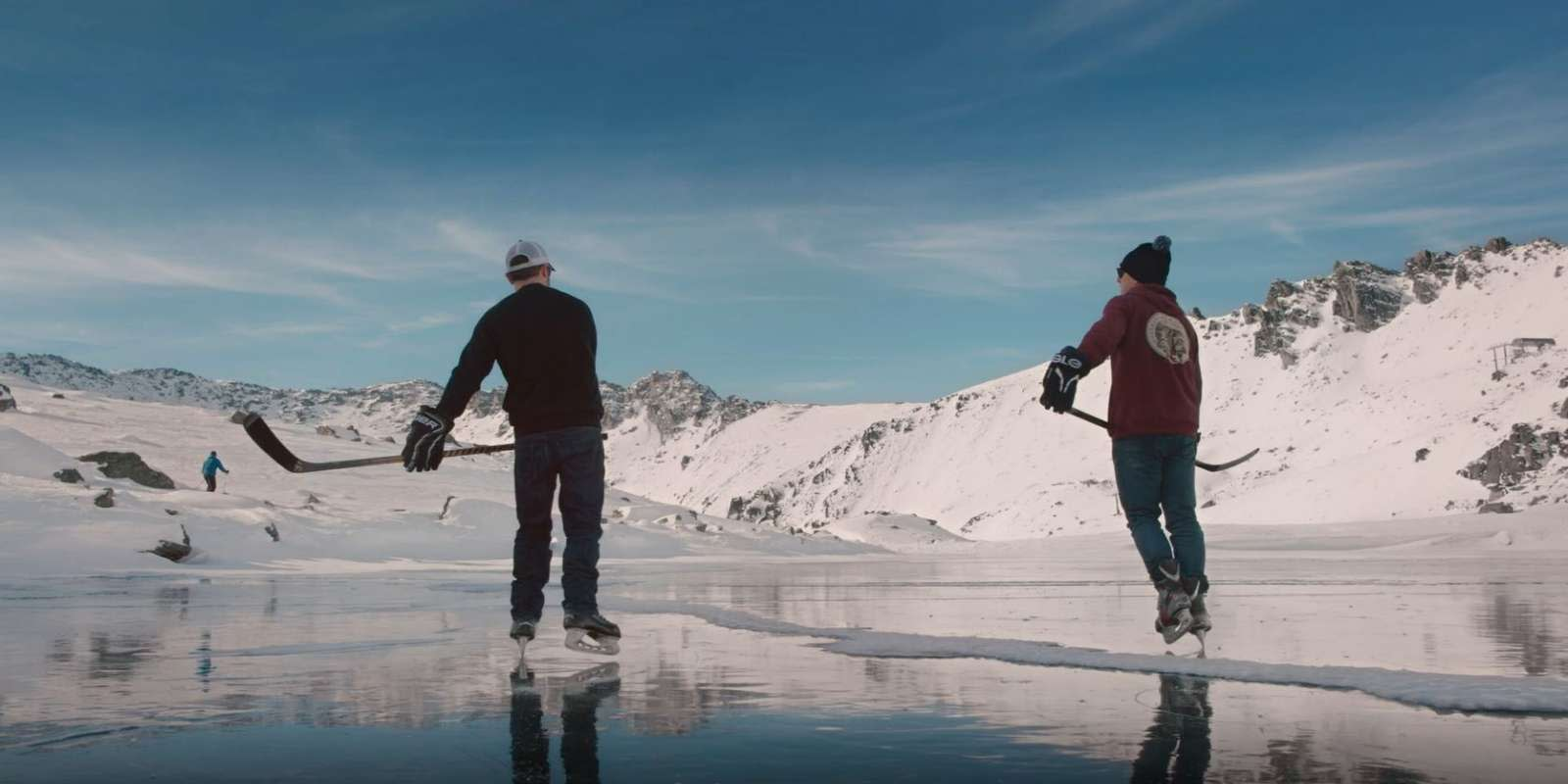 Ice skating on Lake Alta
