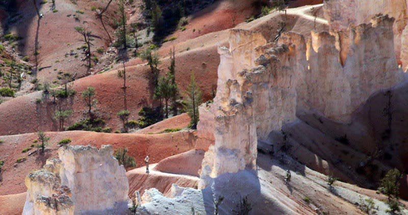 Hiking trails wind among the thousands of Hoodoo formations inside Bryce Canyon National Park.
