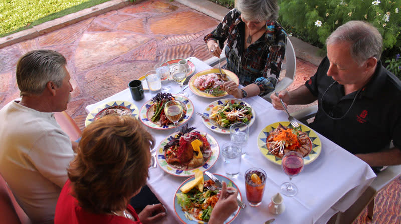 Friends dine near Capitol Reef National Park.