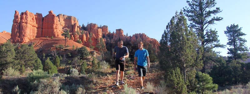 Hiking among hoodoo formations in the Bryce Canyon area.