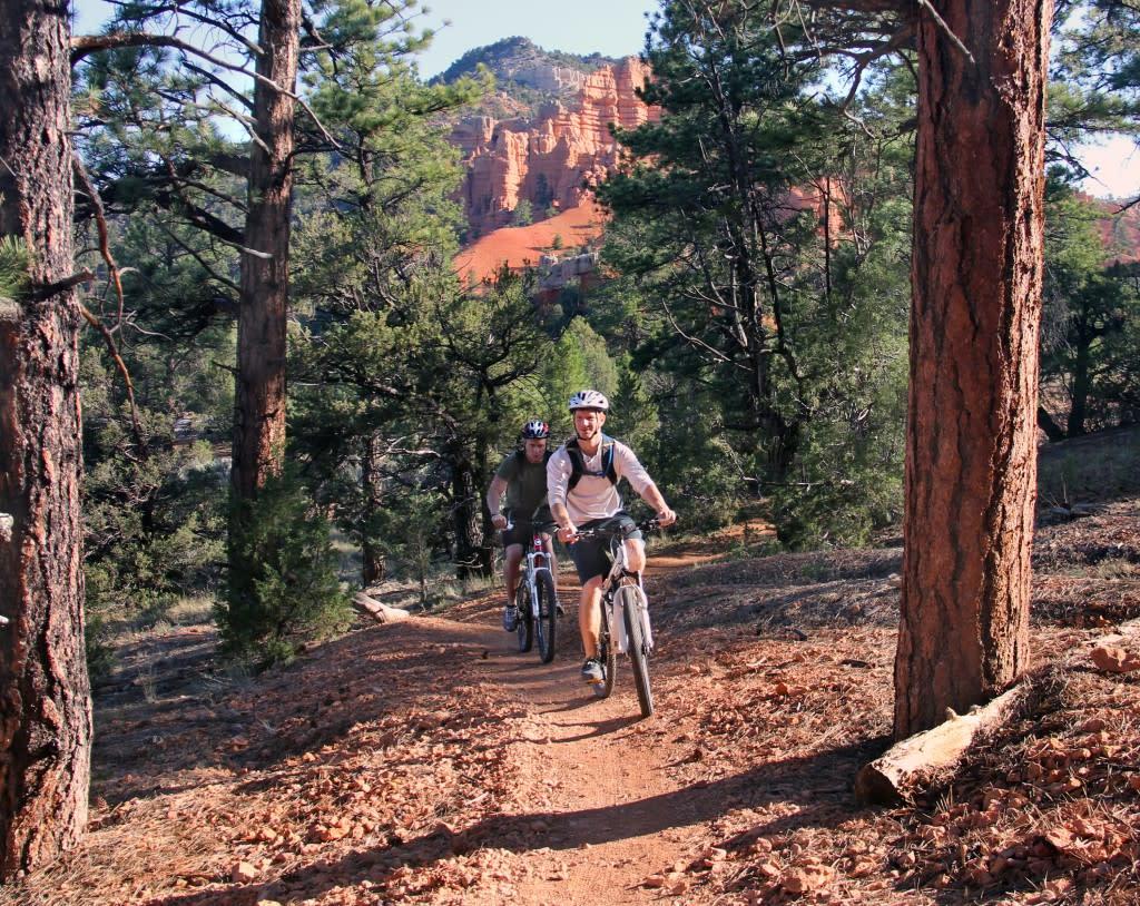 Biking through Red Canyon