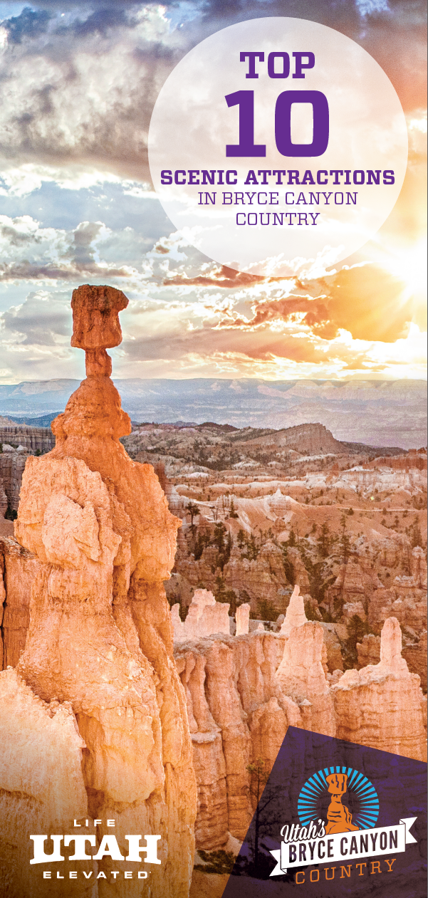 A guide for 10 must-see scenic attractions in Bryce Canyon Country. Visit scenic byways, state parks and national parks.