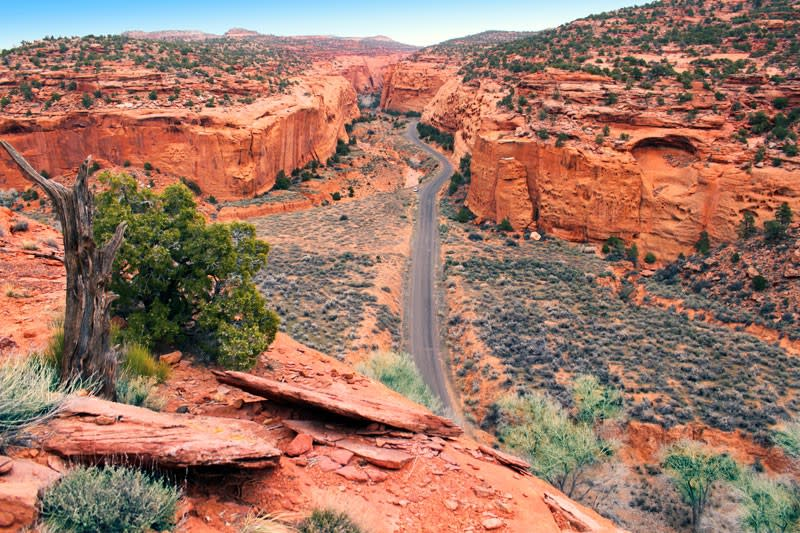 Burr Trail Road above, is also a secret access road to Lake Powell
