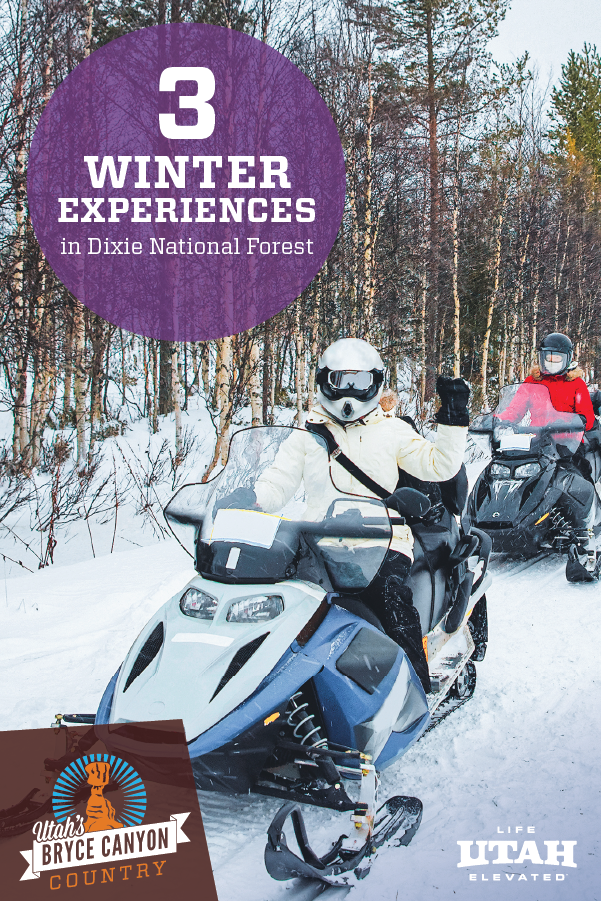 Winter in Dixie National Forest, nearby Bryce Canyon National Park is the perfect place for adventure. Enjoy snowmobiling, cross-country skiing and ice fishing.