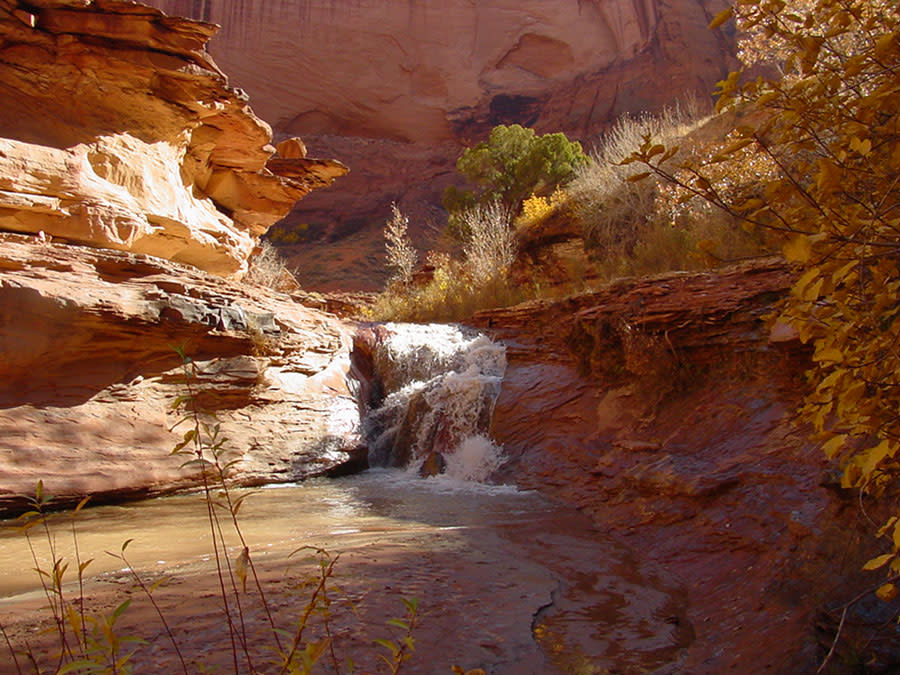 A waterfall in a canyon of the Grand Staircase Escalante National Monument