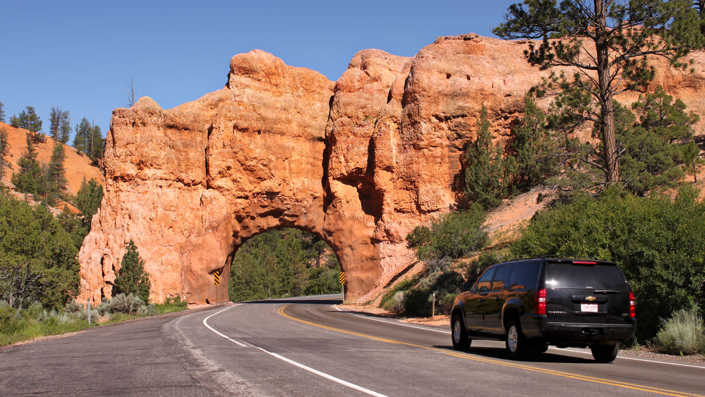 A tunnel carved through a limestone fin in Red Canyon in the Dixie National Forest and along Scenic Byway 12.