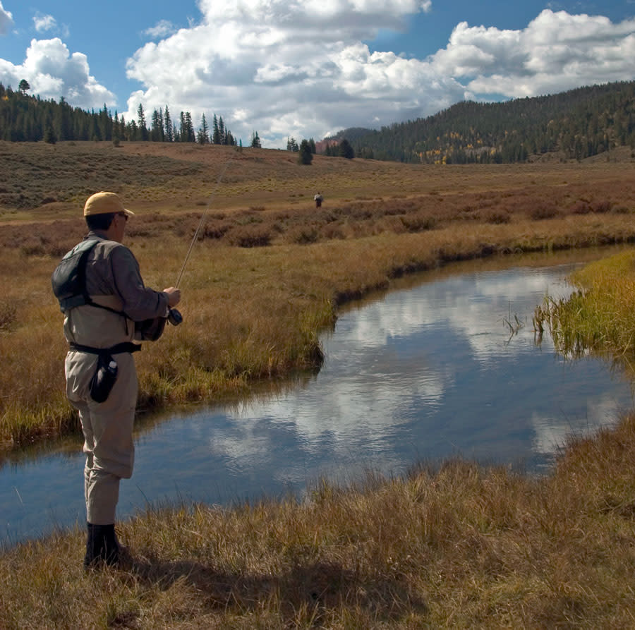 Fishing a mountain stream in Bryce Canyon Country.