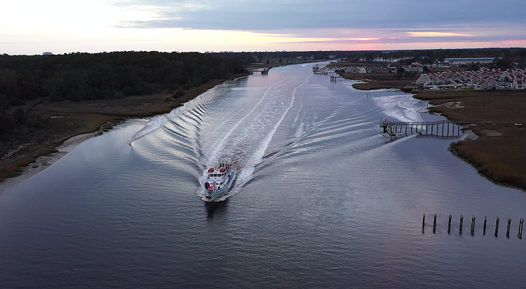 Aerial view of the Intracostal Waterway in North Myrtle Beach