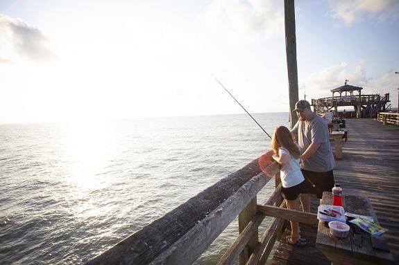 Fishing on the Cherry Grove Fishing Pier.