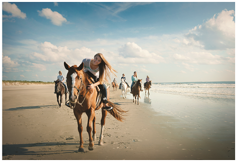 Ride horses on the beach at Inlet Point Plantation in North Myrtle Beach.