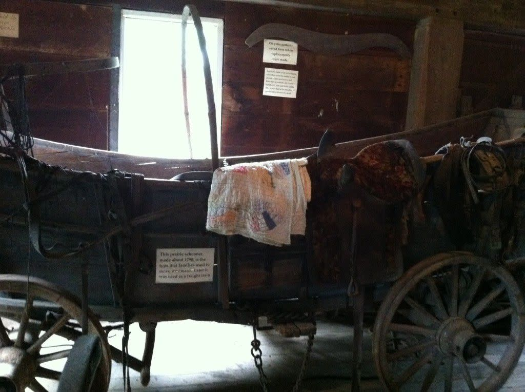 This Prairie Schooner, made about 1790, is the type families used to move westward.  Later it was used as a freight train.