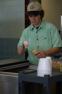 Making a custard cone!