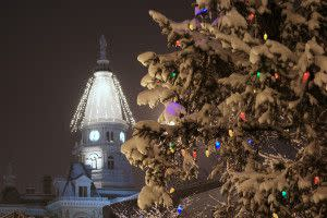 Riehle Plaza Christmas Tree and Courthouse