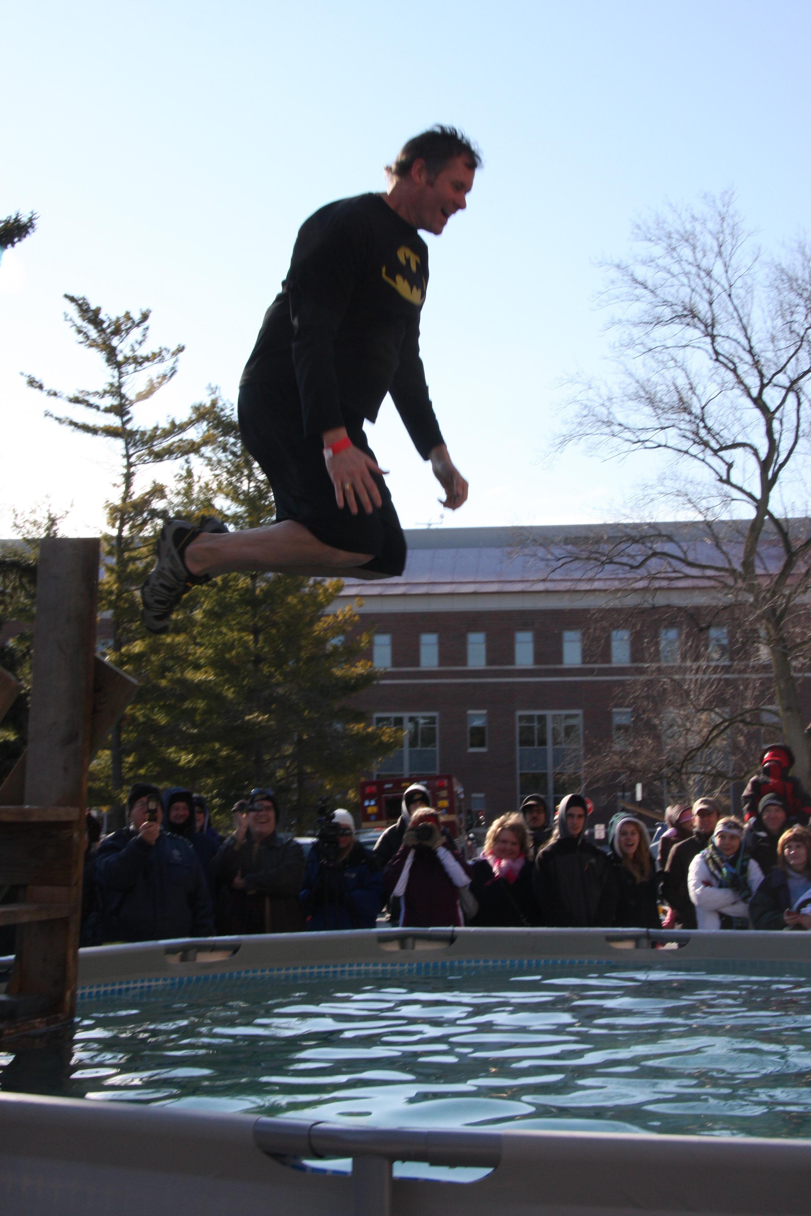 Mayor John Dennis taking the plunge!