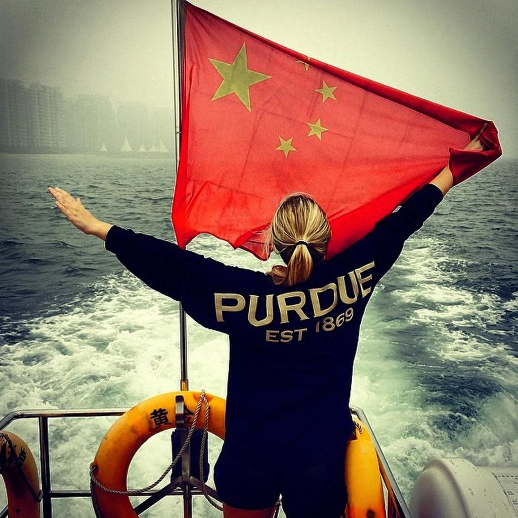 Oh China! I love you! Enjoying a boat ride on the Red Sea!