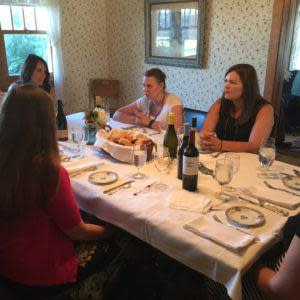Ladies enjoy a Farm to Table meal.