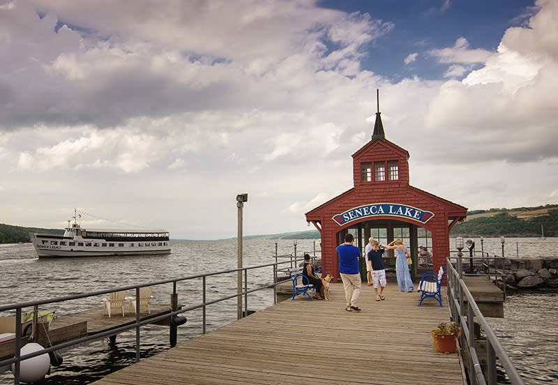 Seneca Lake Pier House with boat in the background