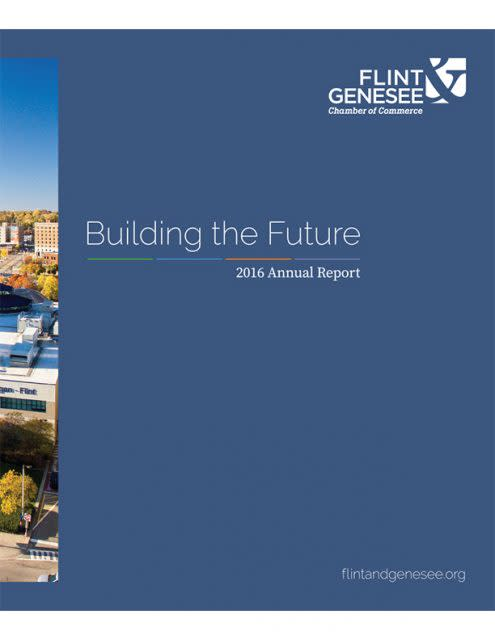 Image of front cover of annual report with Flint skyline