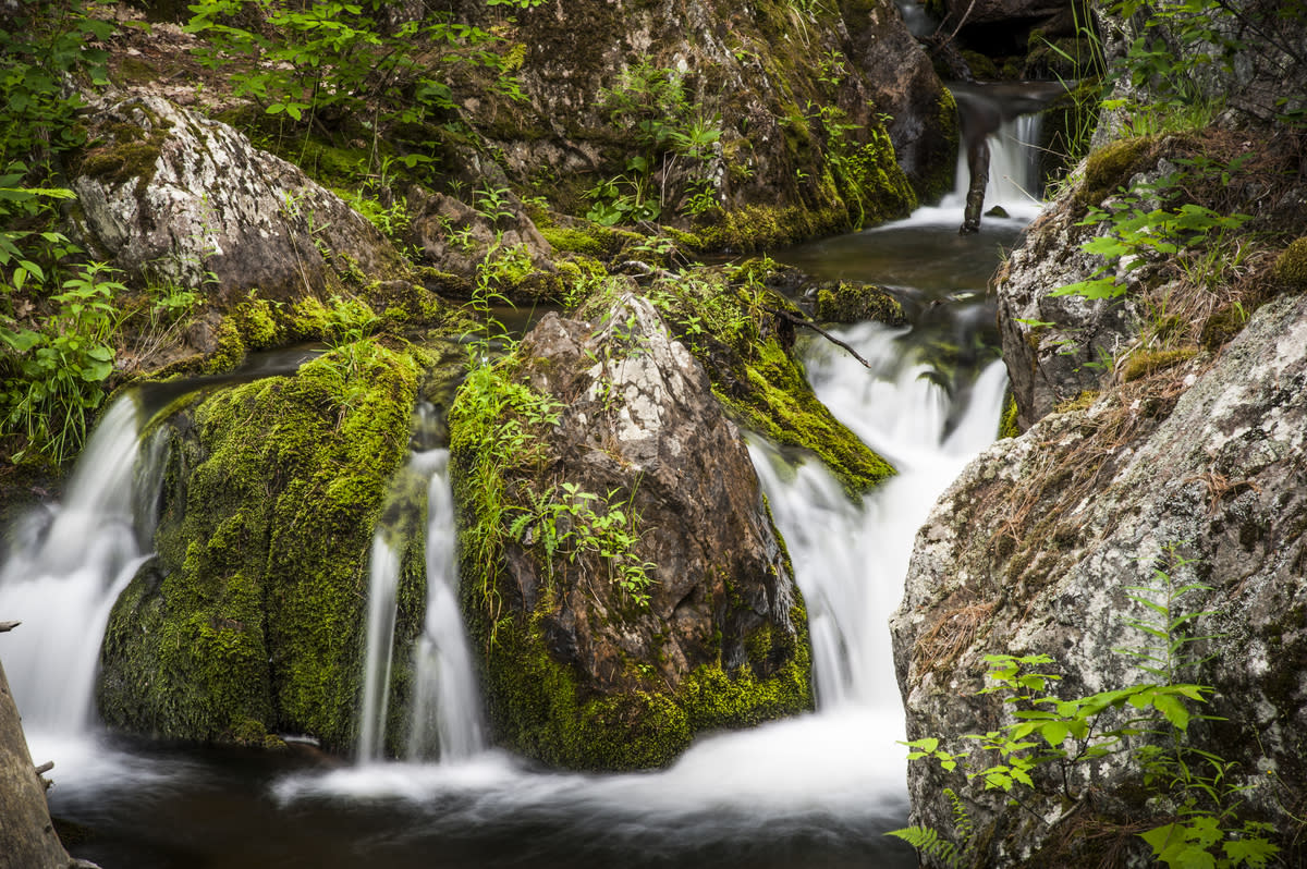 A waterfall on Reany Creek in Marquette County, Michigan.