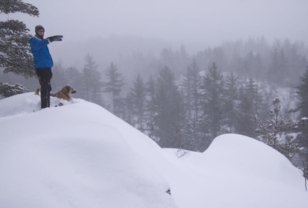 A snowshoer and his dog look out from a ridge deep in the woods north of Ishpeming, Michigan.