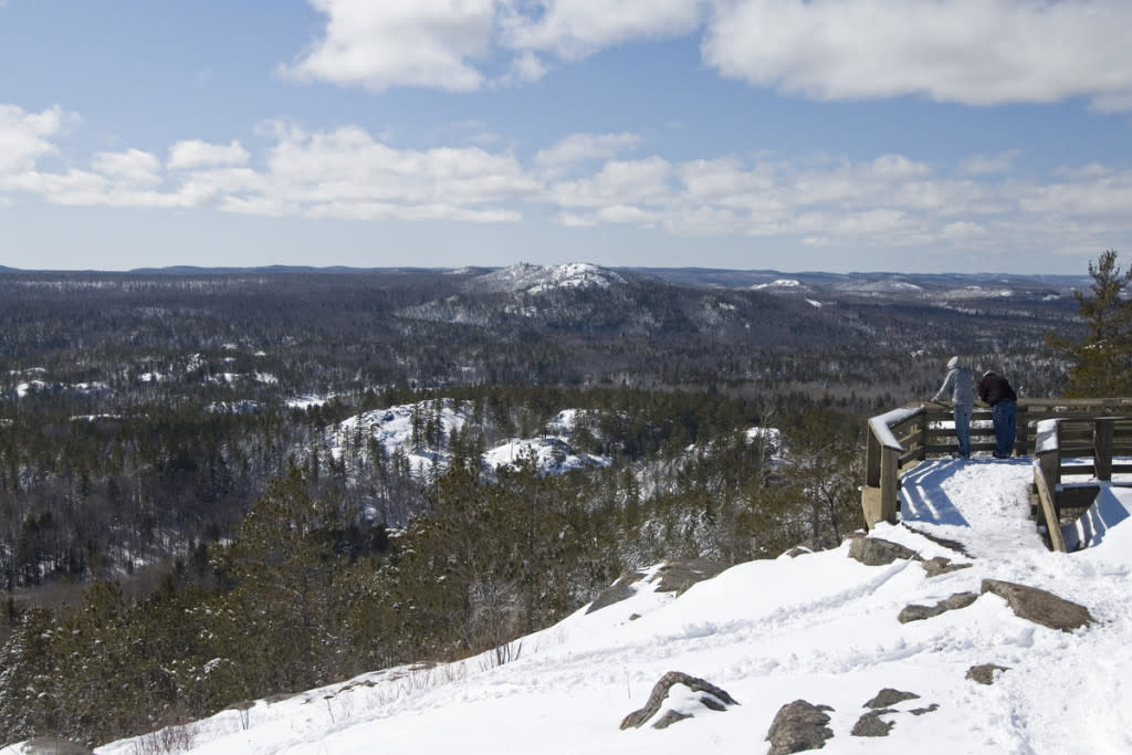View of rugged winter terrain near Marquette Michigan including Hogback Mountain part of the Escanaba River State Forest in Michigan's Upper Peninsula.