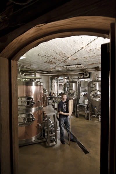 Brewmaster Derek Anderson of The Vierling Restaurant and Marquette Harbor Brewery in downtown Marquette, Michigan.
