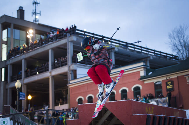 Scene from the Downtown Showdown rail jam ski and snowboard competition event festival in Marquette, Michigan on Michigan's Upper Peninsula.