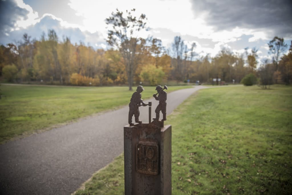 The Iron Ore Heritage Trail connects communities in Marquette County, Michigan.