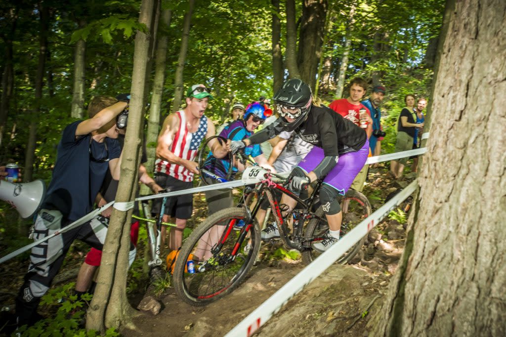 Downhill mountain bike race of the Marquette Trails Fest in Marquette, Michigan