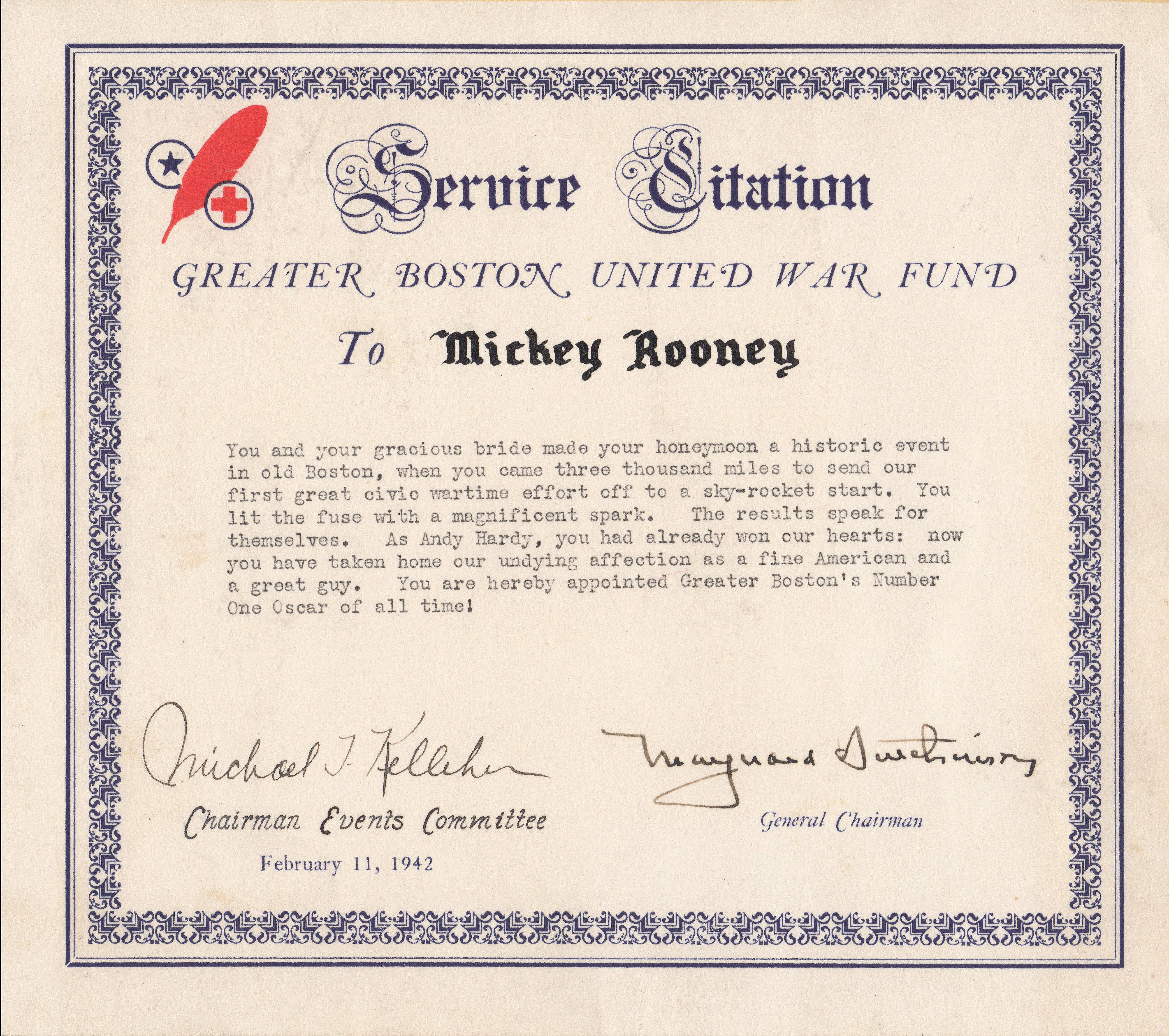 Mickey Rooney United War Certificate