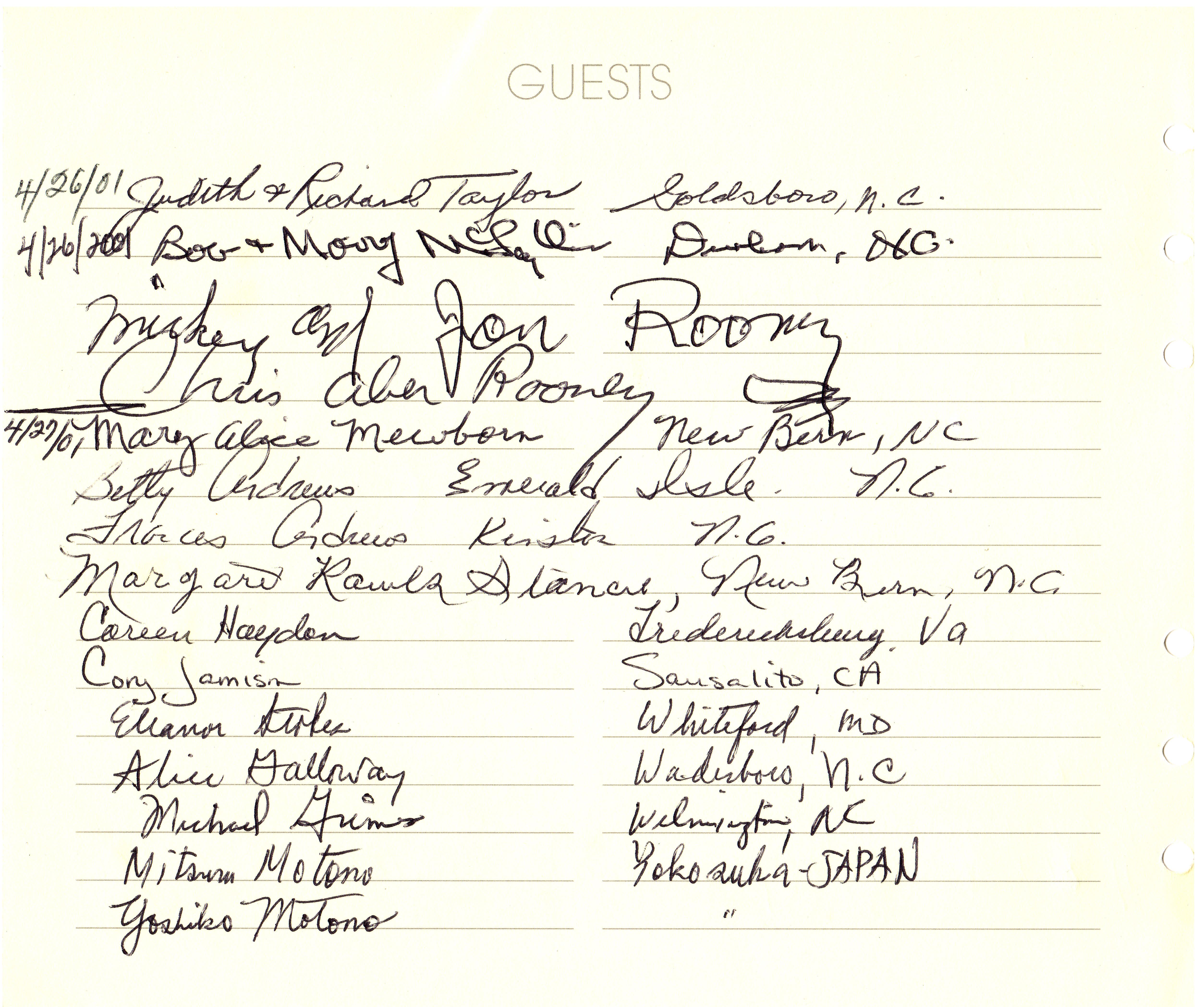 Museum Guest Register - Mickey Rooney.tif