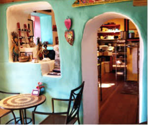 ...and offers a colorfully cozy interior.