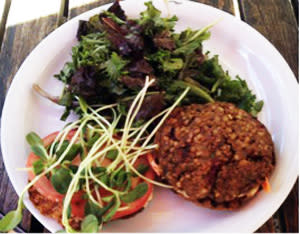 A vegan burger at the Teahouse keeps you fueled for Santa Fe fun.