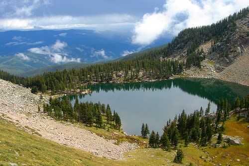 Take a moment to revel in the beauty of Lake Katherine before making your descent.