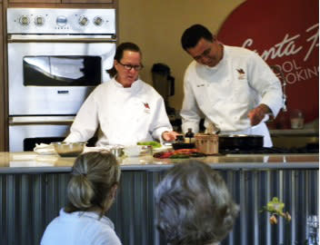 Chefs Tracy and Noe of the Santa Fe School of Cooking send you home with fond memories and sharp kitchen skills.