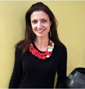 An LBD  (little black dress) is the perfect backdrop for a red enamel necklace by Jasmin Winter, who shows at Patina Gallery.