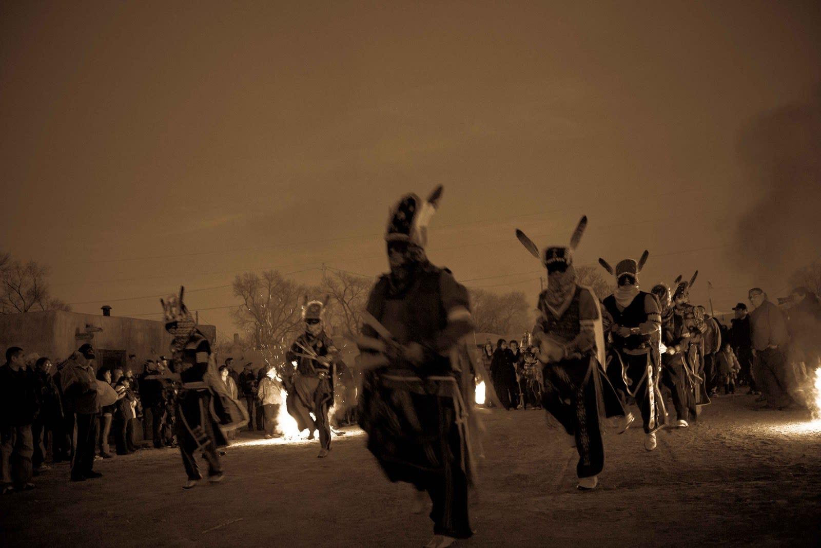 Members of the Ohkay Owingeh Pueblo perform their Vespers Dance.