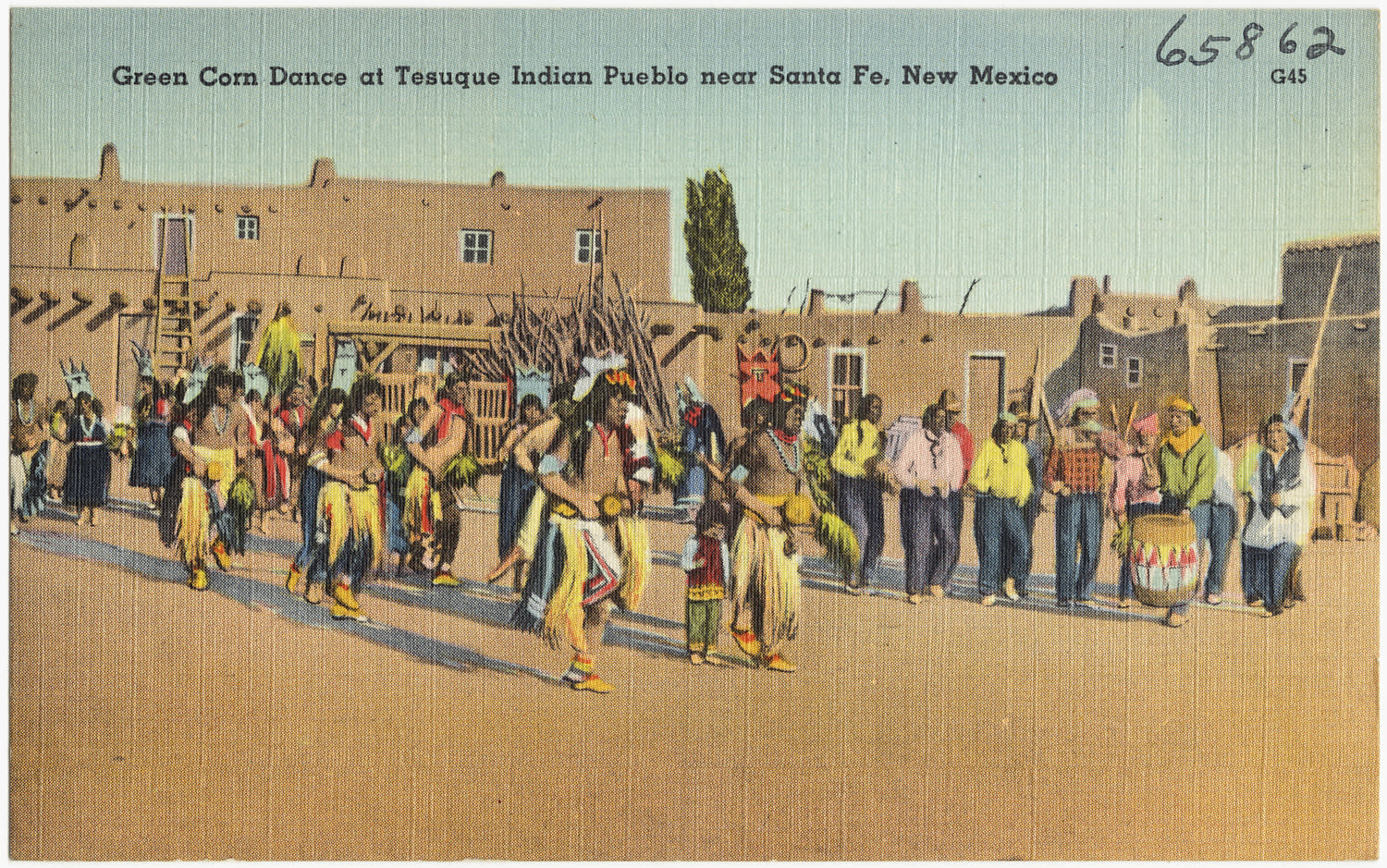 A corn dance on a vintage postcard looks just a corn dance today.