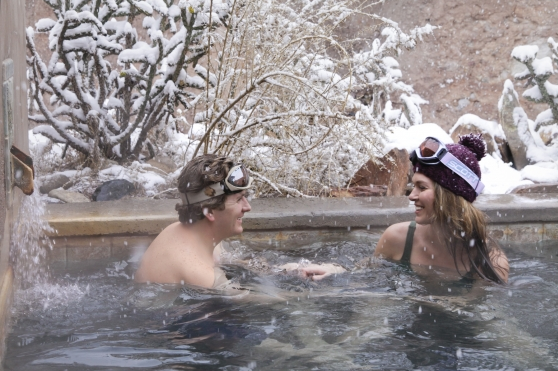 The warmth of togetherness beats any weather challenge. (Photo credit: Ojo Caliente Mineral Springs Spa and Resort)