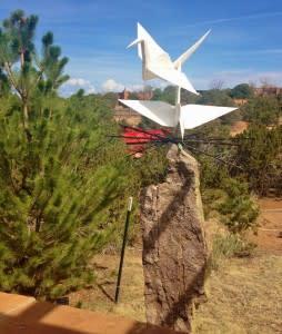 Cranes come to life in the Santa Fe Botanical Garden.
