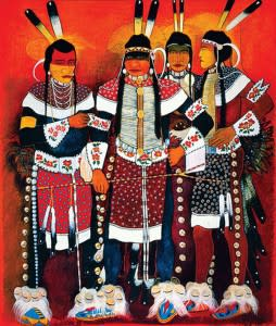 """Imagine seeing a painting like this on your wall – this one is available. """"Dancers (The Red Star Brothers)"""" by Kevin Red Star (Photo Credit: Kitty Leaken)"""