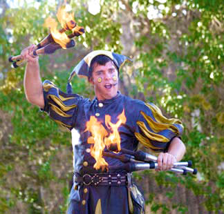 Juggling fire is all in a day's work when Clan Tynker clocks in at the Renaissance Faire. (Photo Credit: El Rancho de las Golondrinas)