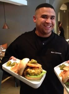 Look closely: Chef Marc Quiñones adds a little jalapeño challenge on the plate with his green chile cheeseburger.