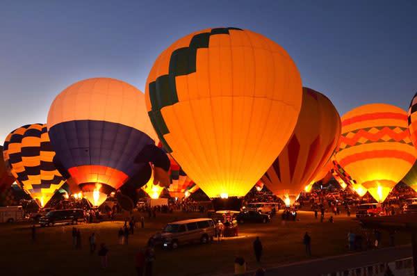 A balloon glow is a magical moment. (Photo Credit: Albuquerque International Balloon Fiesta)