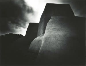 This undated pinhole photo of San Francisco de Asis Church by Dallas Sells is currently on view at the New Mexico History Museum. (Palace of the Governors Photo Archives)