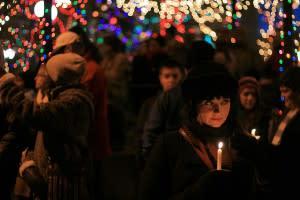 holiday, santa fe, New Mexico, lights, Christmas, candles, festive, holidays