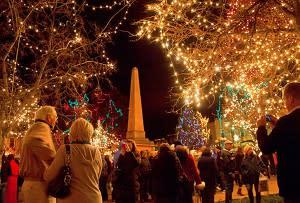 holiday, plaza, santa fe, new mexico, lights, christmas, new year, festive, people, gathering, winter