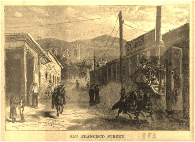 An 1883 engraving from Harper's Weekly shows off Santa Fe's mountain setting.