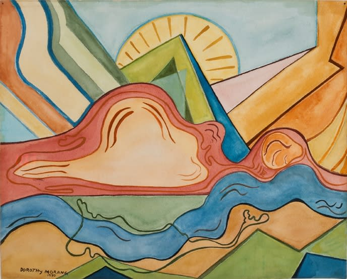 In their time, modernists like Dorothy Morang made the Santa Fe landscape look new.  (Photo courtesy of the New Mexico Museum of Art | Dorothy Morang, Sunrise, 1940, watercolor on paper, Collection of the New Mexico Museum of Art. Photo: Blair Clark)